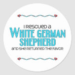 I Rescued a White German Shepherd (Female Dog) Classic Round Sticker