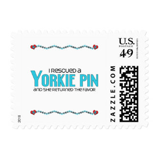 I Rescued a Yorkie Pin (Female) Dog Adoption Postage Stamps