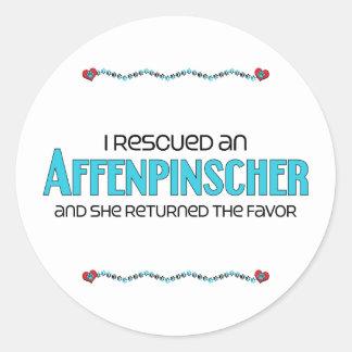 I Rescued an Affenpinscher (Female Dog) Classic Round Sticker