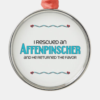 I Rescued an Affenpinscher (Male Dog) Round Metal Christmas Ornament