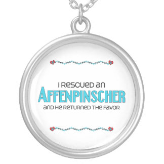 I Rescued an Affenpinscher (Male Dog) Round Pendant Necklace