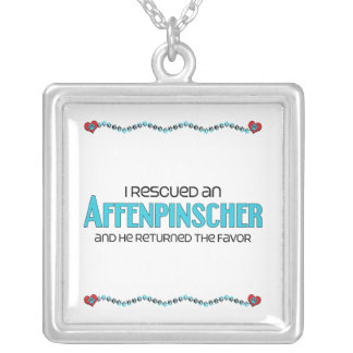 I Rescued an Affenpinscher (Male Dog) Square Pendant Necklace