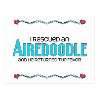 I Rescued an Airedoodle (Male) Dog Adoption Design Postcard