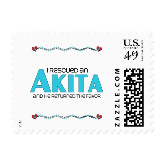 I Rescued an Akita (Male Dog) Postage