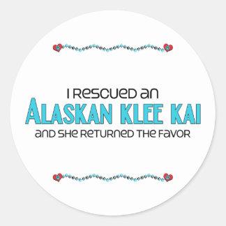 I Rescued an Alaskan Klee Kai (Female Dog) Round Sticker