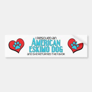 I Rescued an American Eskimo Dog (Female Dog) Bumper Sticker