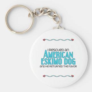 I Rescued an American Eskimo Dog (Male Dog) Keychain