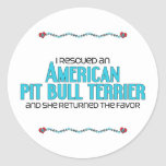 I Rescued an American Pit Bull Terrier (Female) Classic Round Sticker