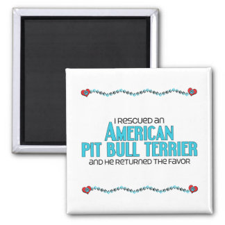 I Rescued an American Pit Bull Terrier (Male Dog) 2 Inch Square Magnet