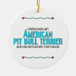 I Rescued an American Pit Bull Terrier (Male Dog) Double-Sided Ceramic Round Christmas Ornament