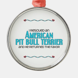 I Rescued an American Pit Bull Terrier (Male Dog) Round Metal Christmas Ornament