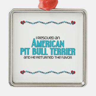 I Rescued an American Pit Bull Terrier (Male Dog) Square Metal Christmas Ornament