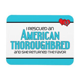 I Rescued an American Thoroughbred (Female Horse) Rectangular Photo Magnet