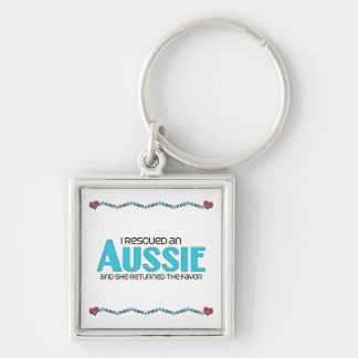 I Rescued an Aussie (Female Dog) Silver-Colored Square Keychain