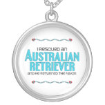 I Rescued an Australian Retriever (Male Dog) Round Pendant Necklace