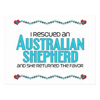I Rescued an Australian Shepherd (Female Dog) Postcard