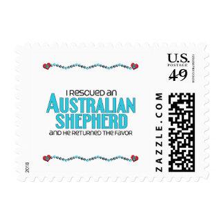 I Rescued an Australian Shepherd (Male Dog) Postage Stamp