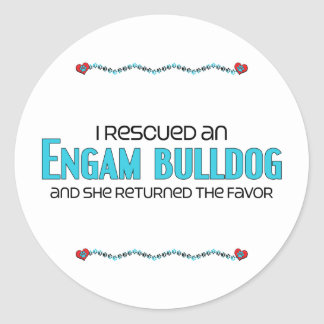 I Rescued an EngAm Bulldog (Female) Dog Adoption Classic Round Sticker