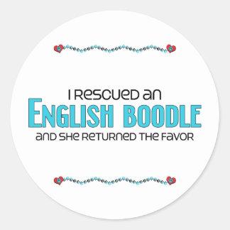 I Rescued an English Boodle (Female) Dog Adoption Classic Round Sticker
