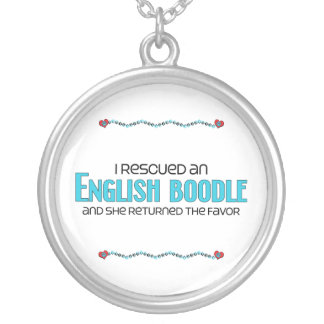 I Rescued an English Boodle (Female) Dog Adoption Silver Plated Necklace