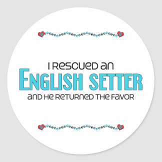 I Rescued an English Setter (Male Dog) Classic Round Sticker