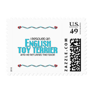 I Rescued an English Toy Terrier (Male Dog) Postage Stamp