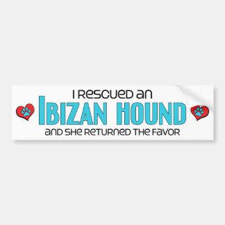 I Rescued an Ibizan Hound (Female Dog) Bumper Sticker
