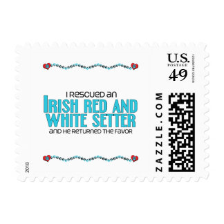 I Rescued an Irish Red and White Setter (Male Dog) Postage Stamps
