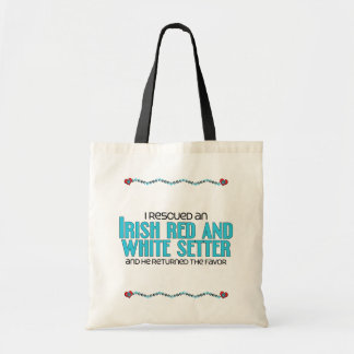 I Rescued an Irish Red and White Setter (Male Dog) Tote Bag