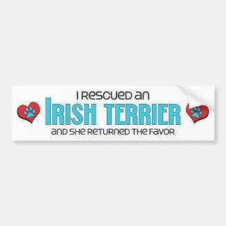 I Rescued an Irish Terrier (Female Dog) Car Bumper Sticker