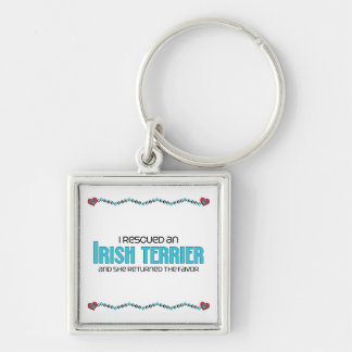 I Rescued an Irish Terrier (Female Dog) Silver-Colored Square Keychain