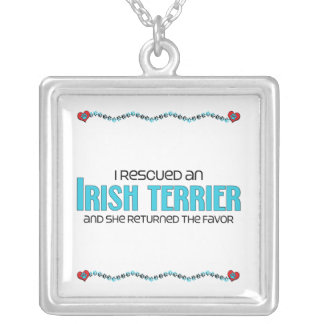 I Rescued an Irish Terrier (Female Dog) Square Pendant Necklace
