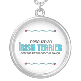 I Rescued an Irish Terrier (Female Dog) Round Pendant Necklace