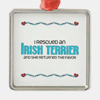 I Rescued an Irish Terrier (Female Dog) Square Metal Christmas Ornament
