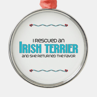I Rescued an Irish Terrier (Female Dog) Round Metal Christmas Ornament