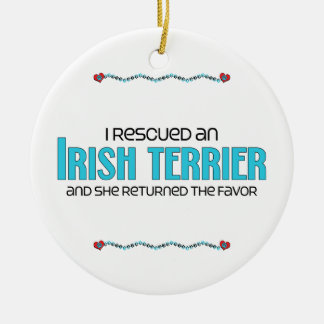 I Rescued an Irish Terrier (Female Dog) Double-Sided Ceramic Round Christmas Ornament