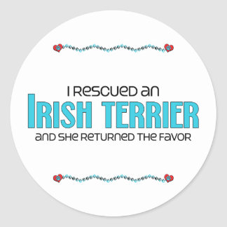 I Rescued an Irish Terrier (Female Dog) Classic Round Sticker