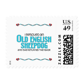 I Rescued an Old English Sheepdog (Female Dog) Postage Stamp