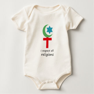 i respect all religions.png baby bodysuit