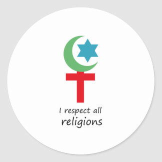 i respect all religions.png classic round sticker