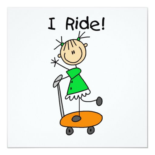 I Ride - Girl on Scooter Invitation