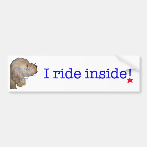 I ride inside! bumper sticker
