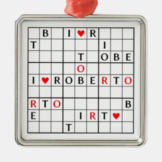 I♥ROBERTO ADORNO CUADRADO PLATEADO
