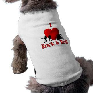 I roca y rollo del corazón playera sin mangas para perro