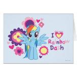 I rociada del arco iris del corazón tarjeta de felicitación