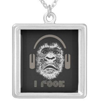 I Rock Gorilla Wearing Headphones Silver Plated Necklace