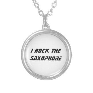 I Rock the Saxophone Round Pendant Necklace