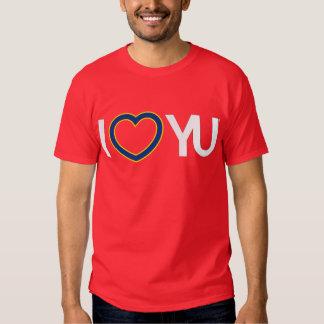 I rojo de la camiseta de YU del corazón Polera