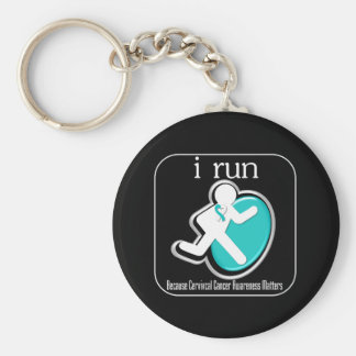 i Run Because Cervical Cancer Matters Basic Round Button Keychain