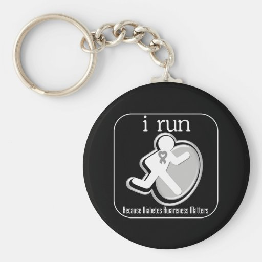 i Run Because Diabetes Matters Keychains